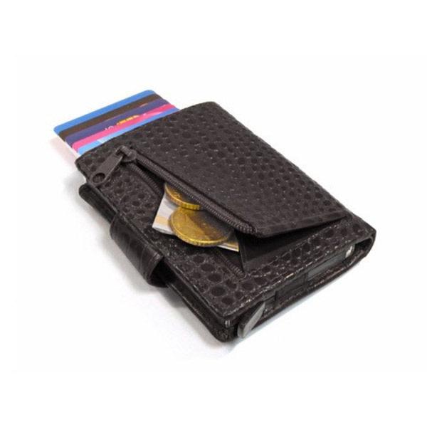 Card protector - creditcardhouder - leer - zwart kroko