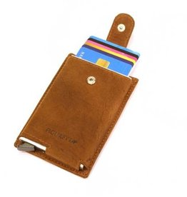 Card protector single- creditcardhouder - leer - hunter oily bruin