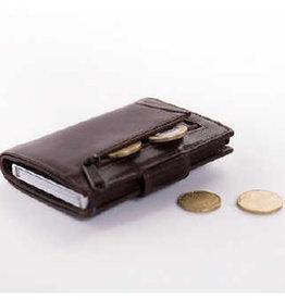 Card protector - creditcardhouder - leer - donkerbruin met rits