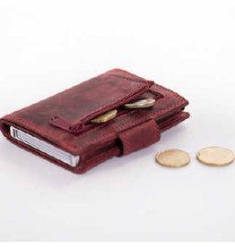 Card protector - creditcardhouder - leer -  hunter pull up rood met rits