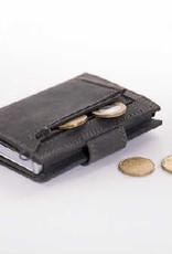 Card protector - creditcardhouder - leer -  hunter pull up donker grijs met rits