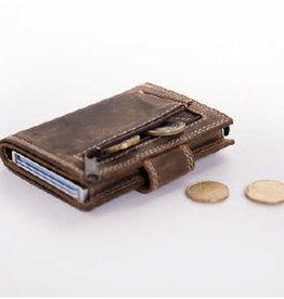 Card protector - creditcardhouder - leer -  hunter pull up bruin met rits