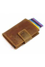 Card protector - creditcardhouder - leer -  hunter  bruin met rits