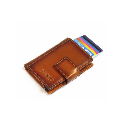 Card protector - creditcardhouder - leer -  burned  bruin met rits