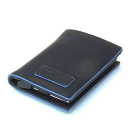 Card protector - creditcardhouder - leer -  blue line zwart met rits