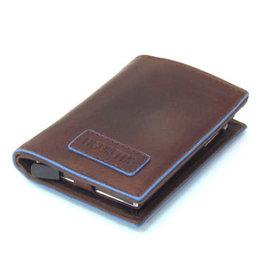 Card protector - creditcardhouder - leer -  blue line bruin met rits