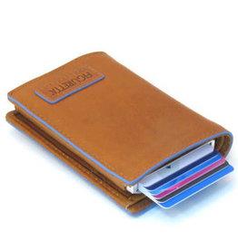 Card protector - creditcardhouder - leer -  blue line cognac met rits