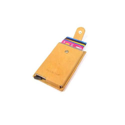 Card protector single- creditcardhouder - leer - beige
