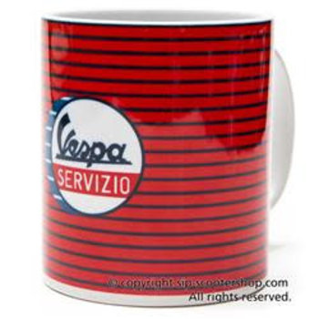"""""""Vespa Servizio"""", red striped mug, VPCE38"""