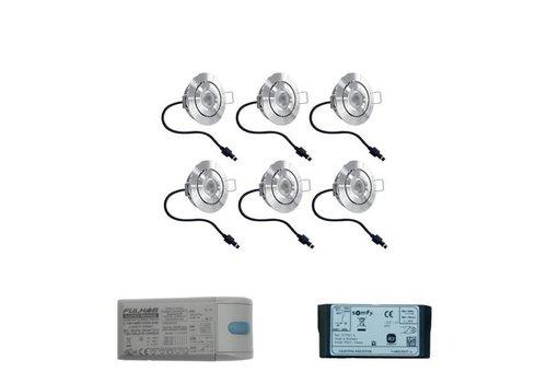 HOFTRONIC™ Set 6x3 Watt dimbare Lavanto LED inbouwspots IP44 met Somfy IO ontvanger