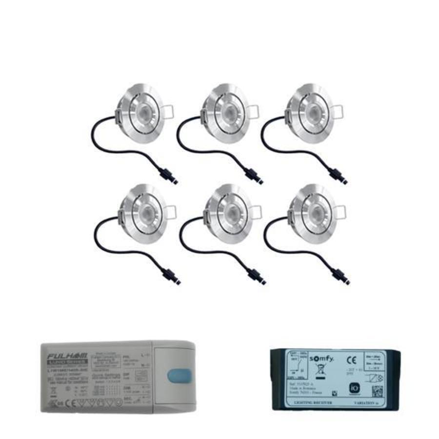 Set met 6x3 Watt dimbare Lavanto LED inbouwspots IP44 met Somfy IO ontvanger exclusief afstandsbediening