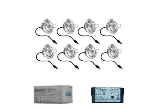 INTOLED Set met 8x3 Watt dimbare Lavanto LED inbouwspots IP44 met Somfy IO ontvanger