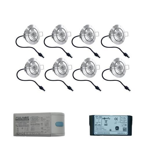 INTOLED Complete set 8x3W dimmable Lavanto LED porch lights IP44 including Somfy IO receiver