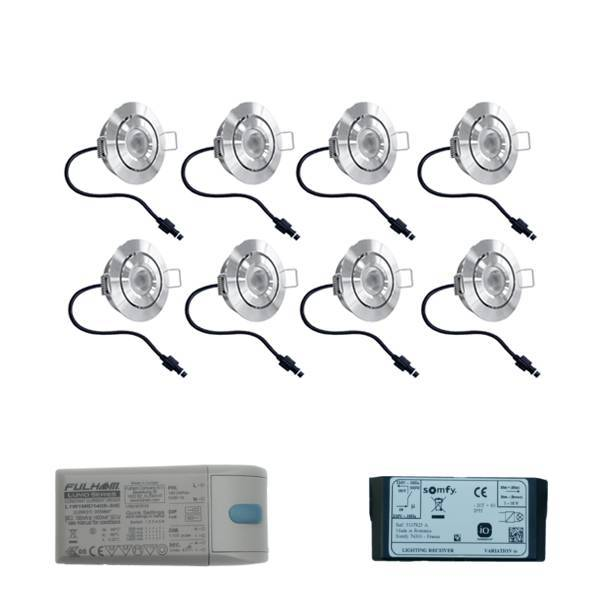 Set met 8x3 Watt dimbare Lavanto LED inbouwspots IP44 met Somfy IO ontvanger exclusief afstandsbedie