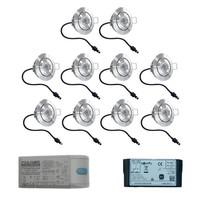 Set met 10x3 Watt dimbare Lavanto LED inbouwspots IP44 met Somfy IO ontvanger exclusief afstandsbediening