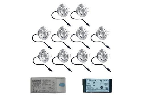 HOFTRONIC™ Set 10x3 Watt dimbare Lavanto LED inbouwspots IP44 met Somfy IO ontvanger