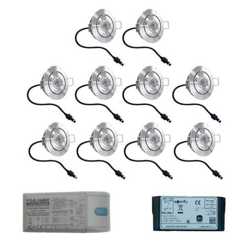 INTOLED Set 10x3 Watt dimmbarer Lavanto LED Einbaustrahler IP44 mit Somfy IO Empfänger