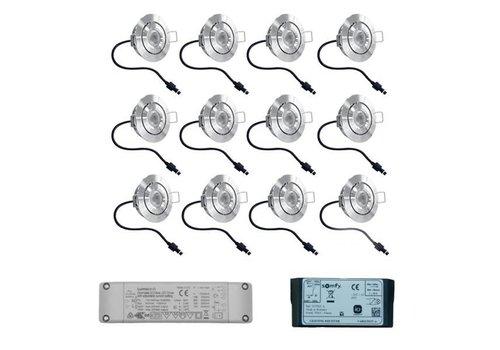 INTOLED Set 12x3 Watt dimbare Lavanto LED inbouwspots IP44 met Somfy IO ontvanger