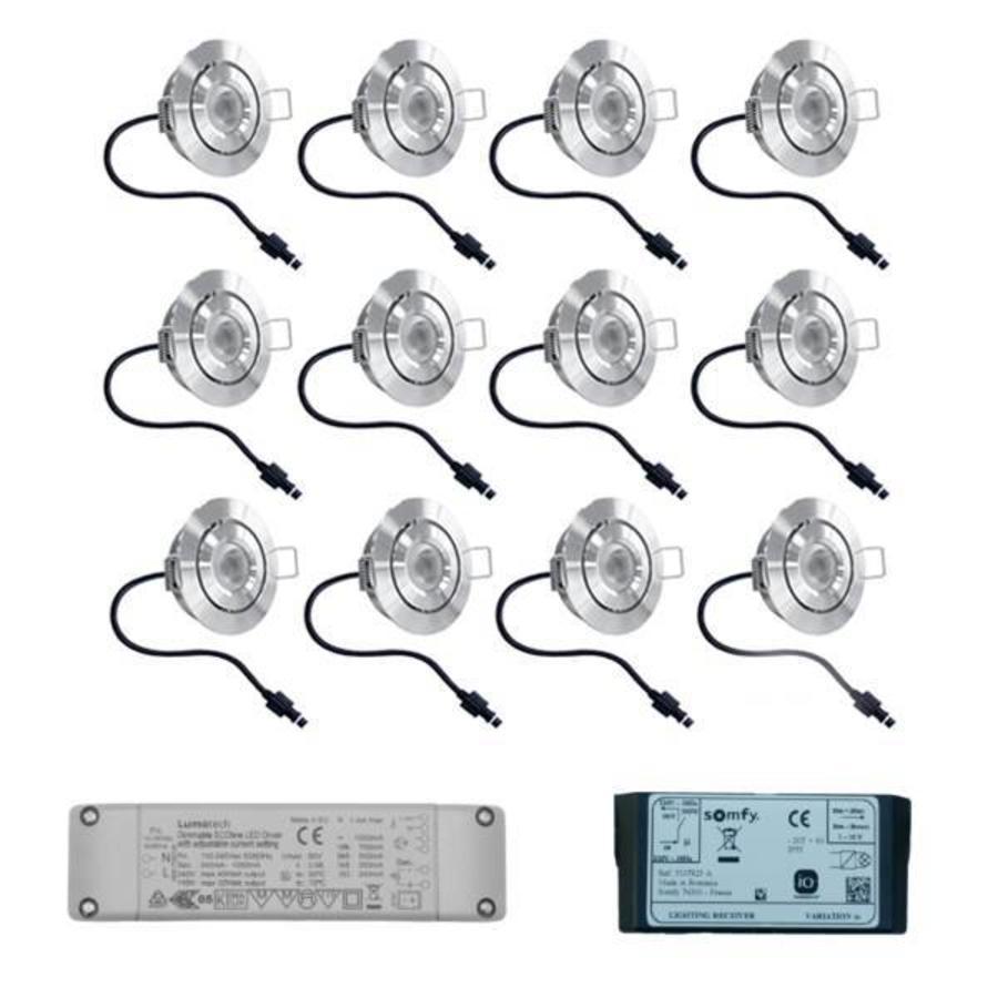 Set met 12x3 Watt dimbare Lavanto LED inbouwspots IP44 met Somfy IO ontvanger exclusief afstandsbediening