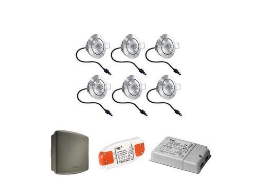 HOFTRONIC™ Complete set 6x3W dimbare veranda LED inbouwspots Lavanto 3W IP44 met Somfy RTS ontvanger