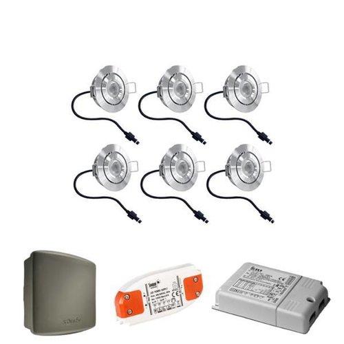 INTOLED Komplettes Set 6x3W dimmbare Veranda LED Einbaustrahler Lavanto 3W IP44 mit Somfy RTS-Empfänger