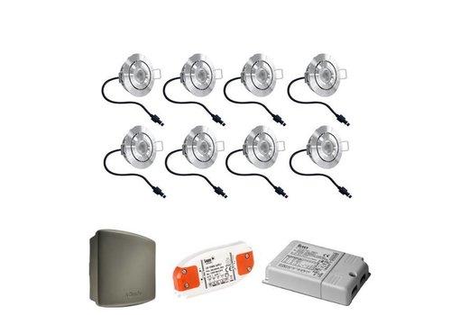INTOLED Complete set 8x3W dimbare veranda LED inbouwspots Lavanto 3W IP44 met Somfy RTS ontvanger