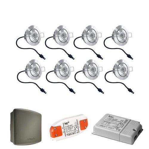 Cree Complete set 8x3W dimbare veranda LED inbouwspots Lavanto 3W IP44 met Somfy RTS ontvanger