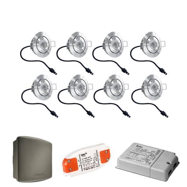 Lavanto LED inbouwspots 8x3W Somfy RTS dimbaar