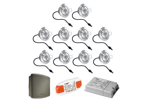 HOFTRONIC™ Complete set 10x3W dimmable veranda LED recessed spotlights Lavanto 3W IP44 with Somfy RTS receiver