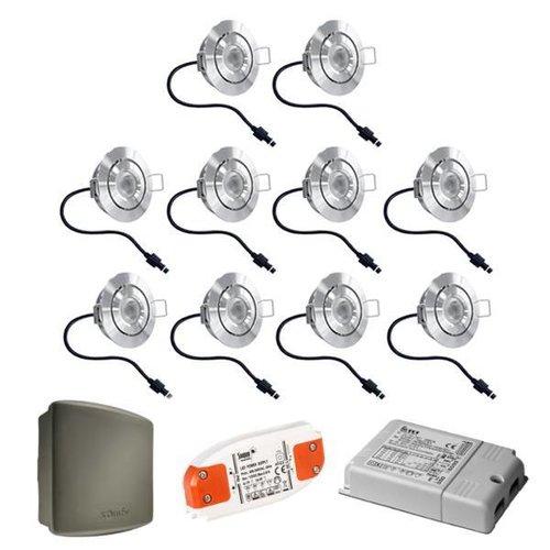 INTOLED Complete set 10x3W dimbare veranda LED inbouwspots Lavanto 3W IP44 met Somfy RTS ontvanger