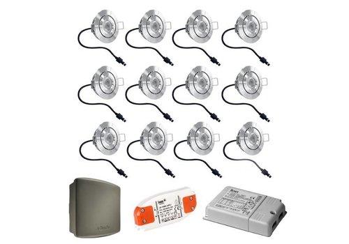 Cree Komplett-Set 12x3W dimmbare Veranda LED Einbaustrahler Lavanto IP44 mit Somfy RTS-Empfänger