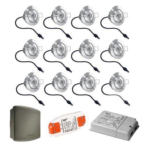 Cree Complete set 12x3W dimbare veranda LED inbouwspots Lavanto IP44 met Somfy RTS ontvanger