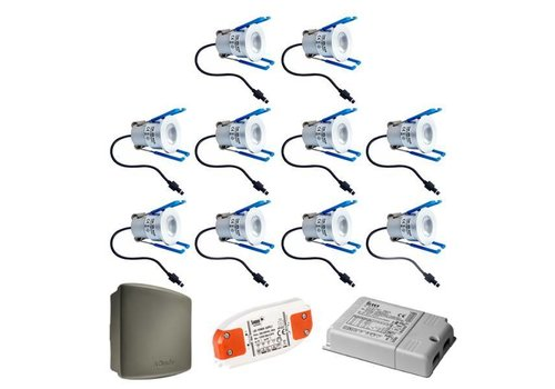 INTOLED Complete set 10x3W Milano LED dimmable porch lights IP65 including Somfy RTS receiver