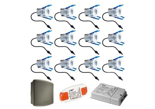 INTOLED Complete set 12x3W Milano LED dimmable porch lights IP65 including Somfy RTS receiver