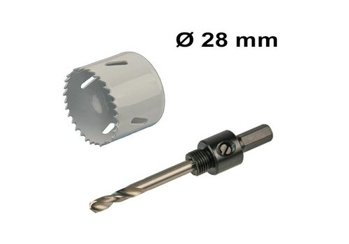 Hole saw Ø 28 mm Bi-metal + adapter with drill