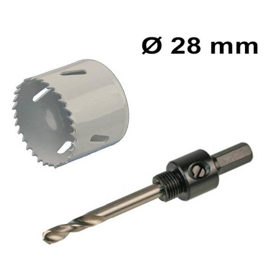 Gatenzaag set Ø 28 mm Bi-Metaal + adapter met centreerboor