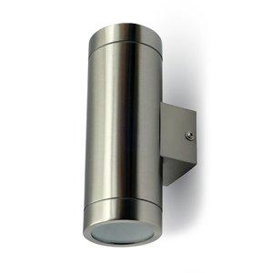V-TAC Tweezijdig oplichtende wand buitenlamp geborsteld RVS geschikt voor GU10 spots IP44 vochtbestendig 3 jaar garantie