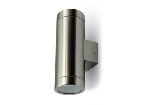 Double-sided illuminated wall outdoor light brushed stainless steel suitable for GU10 spots IP44