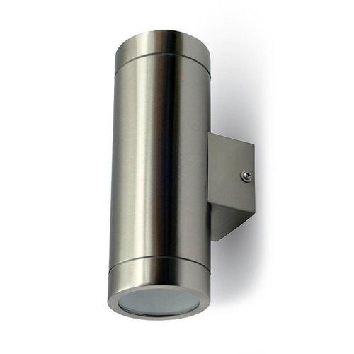 Tweezijdig oplichtende wand buitenlamp geborsteld RVS geschikt voor GU10 spots IP44