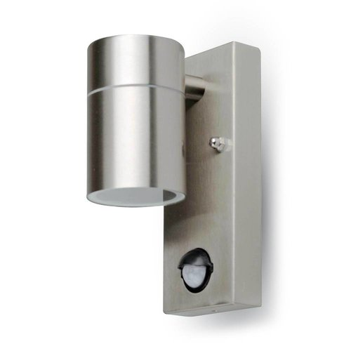 LED Wall Outdoor lamp GU10 stainless steel with motion detector and twilight sensor IP44
