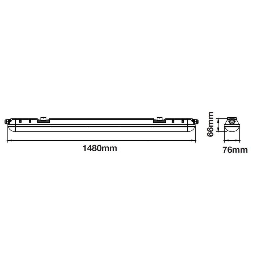 12-pack LED Wannenleuchte IP65 150cm 48W 4000lm 6000K Kalt Weiß