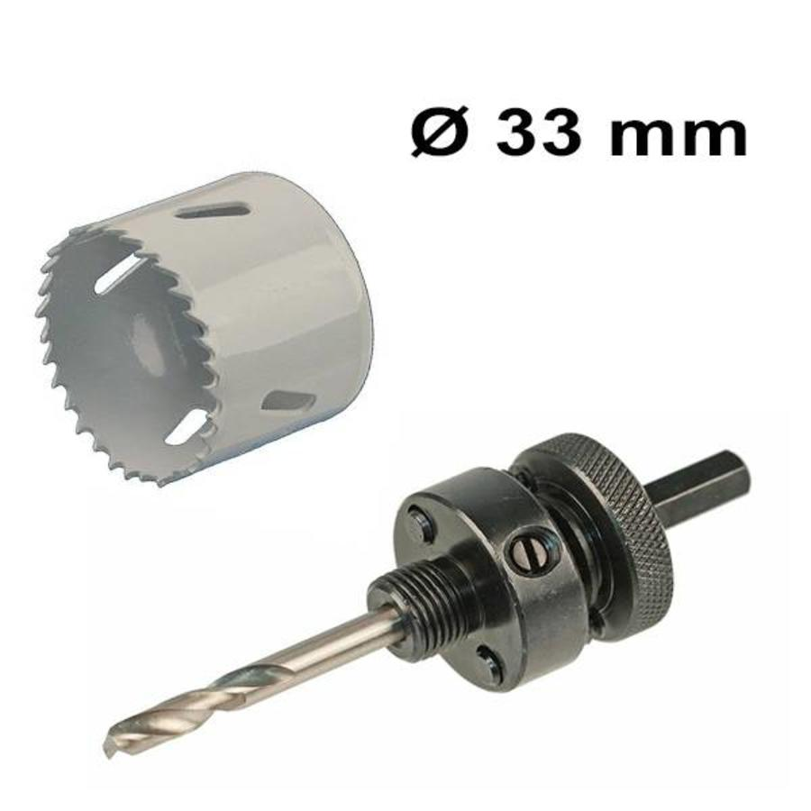 Hole saw Ø 33  mm Bi-metal + adapter with centring drill
