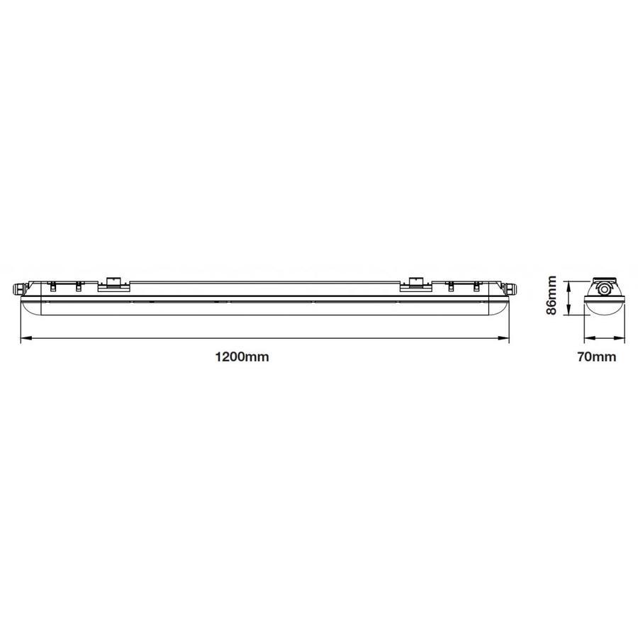 IP65 LED armatuur 120 cm 60W 7200lm 6000K daglicht wit - 5 jaar garantie