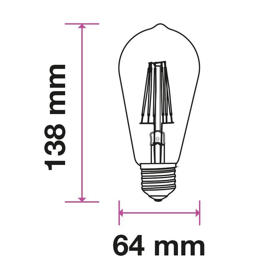 LED Filament lamp ST64 met E27 fitting 8 Watt 700lm super warm wit 2200K