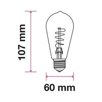 LED gloeilamp ST64 met E27 fitting 4 Watt 400lm super warm wit 2200K