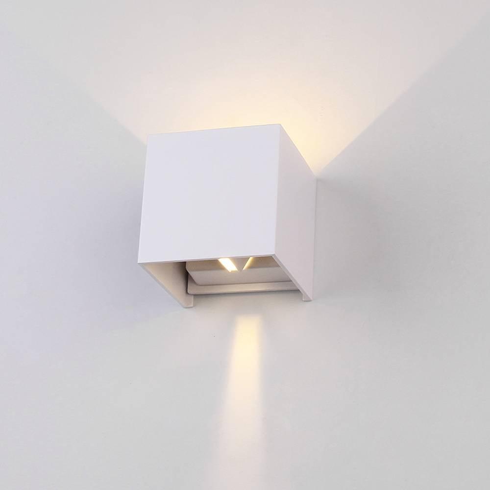 Led wall light up down white cube 6 watt 3000k ip65 waterproof enlarge image aloadofball Choice Image