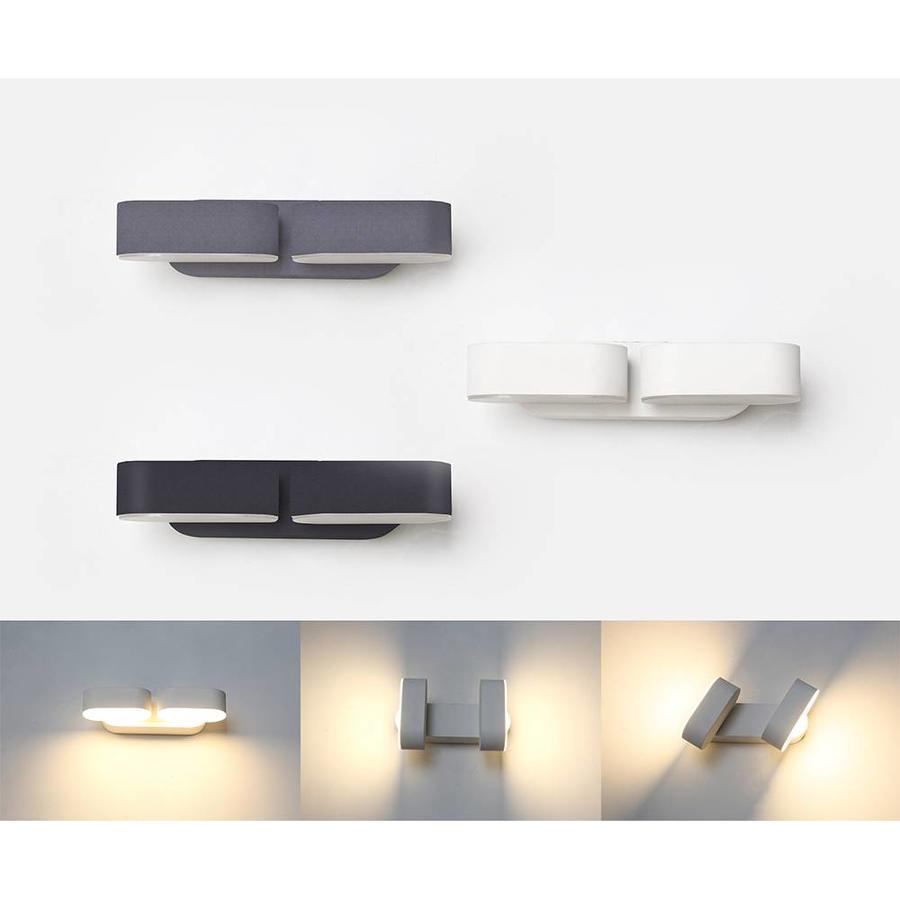 LED wandlamp kantelbaar in de kleur zwart 12 Watt 3000K warm wit IP65 waterdicht