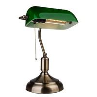 Banker Lampe mit grünem Bakelit Glasschirm und E27 Fassung