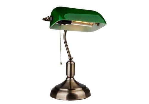 V-TAC Banker Lampe mit grünem Bakelit Glasschirm und E27 Fassung