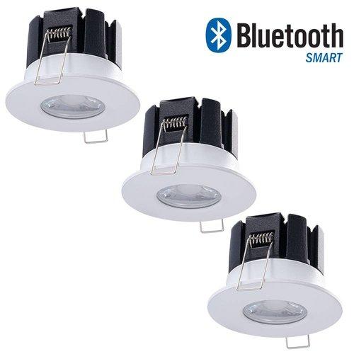 Bridgelux Set of 3 dimmable Bluetooth LED downlights Stockholm 10 Watt IP65